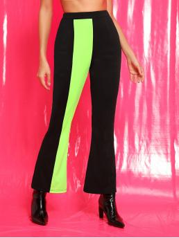 Casual Colorblock Flare Leg Regular Elastic Waist Mid Waist Black Long Length Contrast Panel Elastic Waist Flare Pants