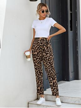Multicolor High Waist Belted Leopard Cheetah Print Pants on Sale