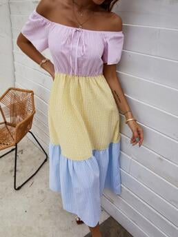 Beautiful Multicolor Colorblock Knot off the Shoulder off Shoulder Cut and Sew Dress