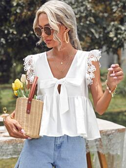 Fashion Sleeveless Peplum Tie Front Cotton Guipure Lace Trim Knotted Top