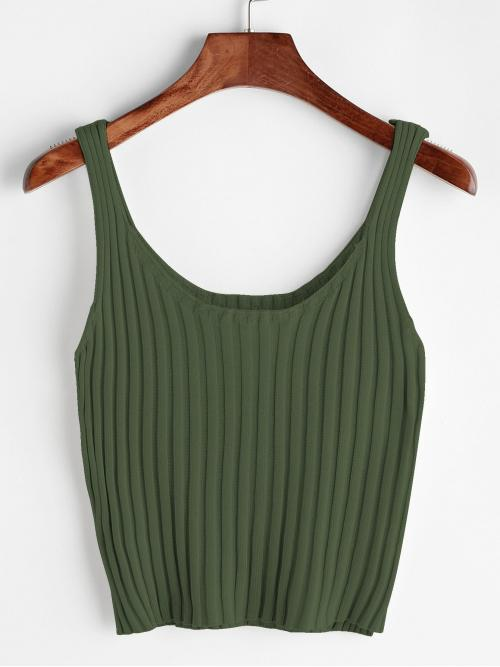 Casual Plain Slim Fit Scoop Neck Army Green Crop Length Ribbed Tank Top