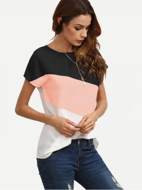 Short Sleeve Top Button Polyester Keyhole Cut and Sew Top Discount