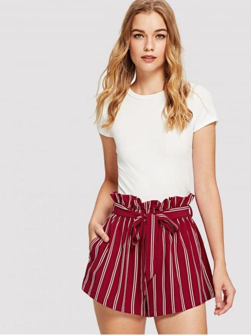 Beautiful Red High Waist Belted Wide Leg Ruffle Waist Shorts