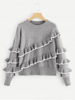 Long Sleeve Pullovers Tiered Layer Lace Contrast Tipping Tiered Ruffle Sweater Shopping