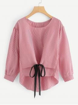 Casual Striped Asymmetrical Top Regular Fit Round Neck Long Sleeve Regular Sleeve Pullovers Red Regular Length Bow Tie Front High Low Striped Blouse