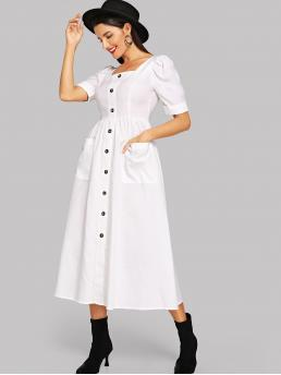 Casual A Line Plain Regular Fit Square Neck Short Sleeve High Waist White Long Length Puff Rolled Sleeve Button Through Flare Dress
