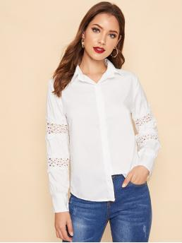 Casual Plain Shirt Regular Fit Collar Long Sleeve Regular Sleeve Placket White Regular Length Cut-out Sleeve Trim Button Front Blouse