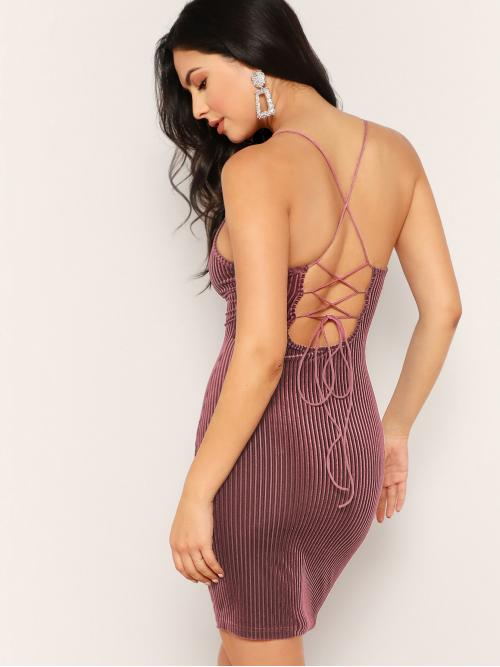 Glamorous and Sexy Cami Plain Slim Fit Spaghetti Strap Sleeveless Natural Pink Short Length Lace Up Back Velvet Rib Cami Dress