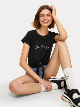 Casual Regular Fit Round Neck Short Sleeve Pullovers Black Crop Length Letter Embroidery Knot Hem Tee
