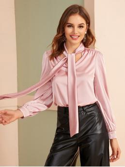 Elegant Plain Top Regular Fit Stand Collar Long Sleeve Regular Sleeve Pullovers Pink and Pastel Regular Length Tie Neck Lantern Sleeve Satin Blouse