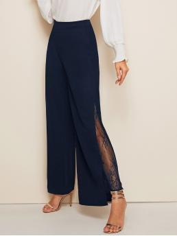 Elegant Plain Wide Leg Regular Zipper Fly Mid Waist Navy Long Length Lace Insert Wide Leg Pants