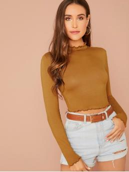 Elegant Plain Slim Fit Stand Collar Long Sleeve Pullovers Camel Regular Length Lettuce Trim Solid Fitted Tee