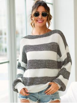 Casual Colorblock Pullovers Oversized Boat Neck Long Sleeve Pullovers Multicolor Regular Length Colorblock Drop Shoulder Bishop Sleeve Sweater