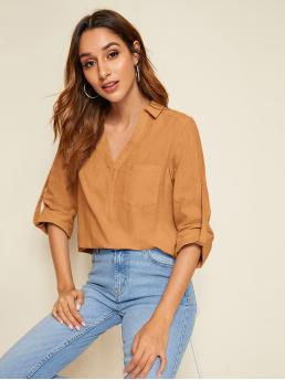 Casual Plain Top Regular Fit Collar and V neck Long Sleeve Roll Up Sleeve Pullovers Camel and Pastel Regular Length Roll Tab Sleeve Pocket Front Top
