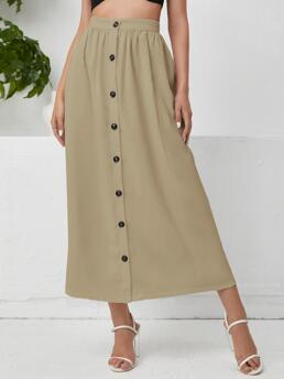 Fashion Khaki High Waist Button Front a Line Single Breasted Solid Skirt