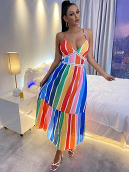 Multicolor Rainbow Stripe Lace up Spaghetti Strap D Print Backless Dress Affordable