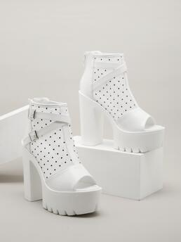 White Sandals Boots Buckle High Heel Dot Pattern Heeled Sandal Boots Ladies
