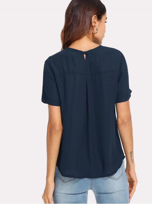 Short Sleeve Top Cut out Mesh V Cut Curved Hem Solid Top on Sale