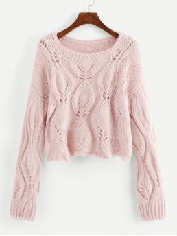 Long Sleeve Pullovers Pleated Corduroy Loose Knit Solid Sweater on Sale