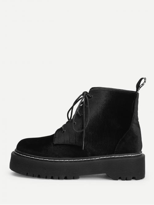 Clearance Corduroy Black Combat Boots Buckle Stitching Seam Lace-up Boots