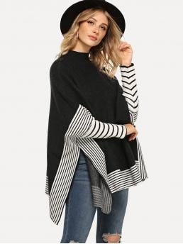 Long Sleeve Poncho Scallop Tweed Contrast Sweater Beautiful