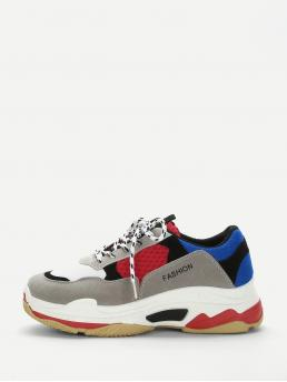 Comfort Round Toe Multicolor Lace-up Chunky Sole Sneakers