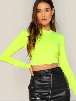 Womens Long Sleeve Plain Yellow Stand Collar Neon Green Mock-neckted Top