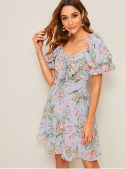 Boho A Line Floral Flared Regular Fit Sweetheart Short Sleeve Flounce Sleeve High Waist Blue Short Length Floral Print Puff Sleeve Knot Front Flare Dress with Lining