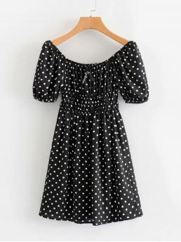 Casual A Line Polka Dot Flared Off the Shoulder Short Sleeve High Waist Black and White Short Length Polka Dot Shirred Waist Dress with Lining