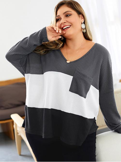 Casual Colorblock Oversized V neck Long Sleeve Multicolor Regular Length Plus Color Block V-neck Tee