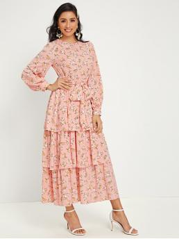 Boho A Line Ditsy Floral Layered/Tiered Regular Fit Round Neck Long Sleeve Bishop Sleeve High Waist Pink Long Length Ditsy Floral Print Tiered Layered Belted Dress with Belt