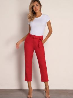 Elegant Plain Tailored Regular Zipper Fly High Waist Red and Bright Cropped Length Joyfunear Solid Belted Capris Pants with Belt