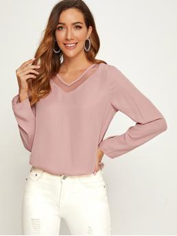 Casual Plain Top Regular Fit V neck Long Sleeve Regular Sleeve Pullovers Pink and Pastel Regular Length Mesh Insert Solid Top