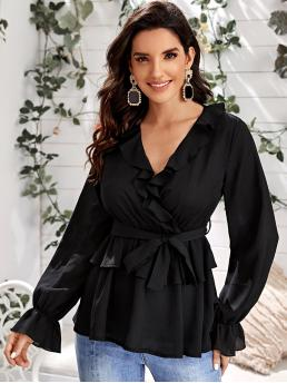 Elegant Plain Flared Peplum Regular Fit V neck Long Sleeve Flounce Sleeve Pullovers Black Regular Length Ruffle Neck Belted Wrap Peplum Top with Belt