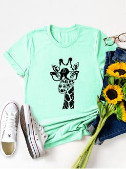Discount Short Sleeve Cotton Graphic Mint Green Giraffe with Glasses Print Tee