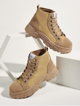 Discount Khaki Hiking Shoes Flatform High-top Two Tone Front High Top Sneakers