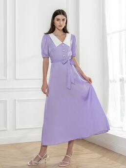 Clearance Lilac Purple Colorblock Button Front Peter Pan Collar Peter-pan Collar Button Detail Dress