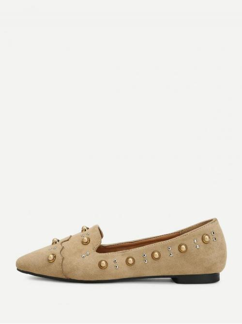 Shopping Corduroy Apricot Ballet Beaded Faux Pearl Decorated Slip on Flats