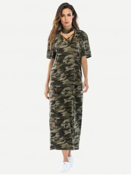 Casual Tee Camo Straight Loose V neck Short Sleeve Natural Multicolor Maxi Length Camouflage Print Choker Neck Dress