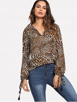 Casual Leopard Top Regular Fit V neck Long Sleeve Pullovers Multicolor Regular Length Tassel Tie Cuff Leopard Print Top