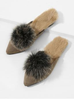 Mules Point Toe Brown Pom Pom Decorated Mule Flats