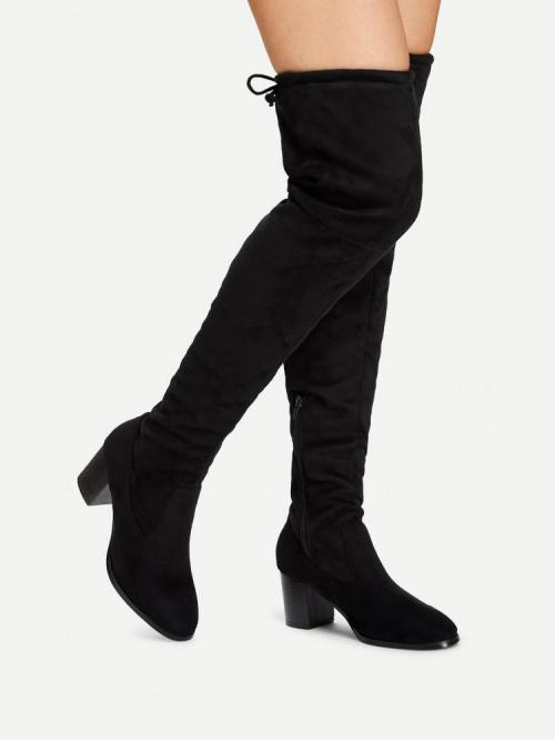 Rayon Black Stretch Boots Rhinestone over the Sale