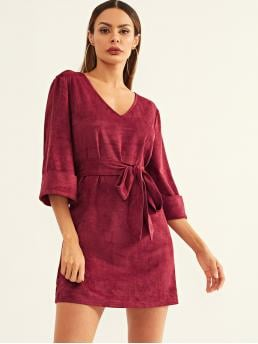 Casual Plain Loose V neck Three Quarter Length Sleeve Natural Burgundy Short Length Waist Belted V-Neck Dress with Belt