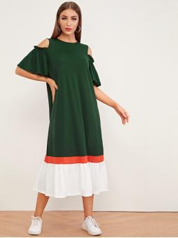 Casual Tunic Colorblock Flounce Loose Round Neck Short Sleeve Flounce Sleeve Natural Green Long Length Cold Shoulder Butterfly Sleeve Contrast Panel Dress