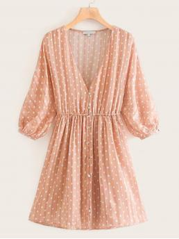 Romantic A Line Polka Dot Flared Loose V neck Three Quarter Length Sleeve Bishop Sleeve High Waist Pink Short Length Chiffon Polka Dot Button Front A-line Dress with Lining