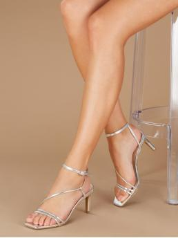 Glamorous Open Toe Plain Ankle Strap Silver High Heel Stiletto Square Toe Metallic Multi Strap Low Heel Sandals