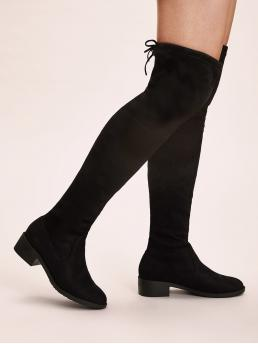 Comfort Other Round Toe Plain No zipper Black Low Heel Chunky Solid Tie Back Over The Knee Boots