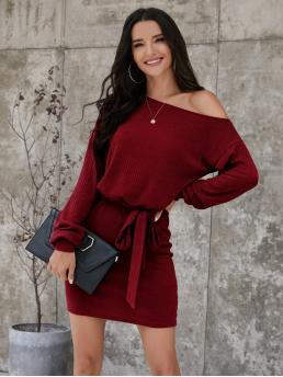 Burgundy Plain Rib-knit Asymmetrical Neck Dress Shopping