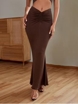 Chocolate Brown Natural Waist Ruched Mermaid Solid Skirt Sale