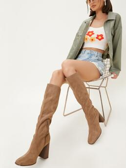 Camel Slouchy Boots High Heel Chunky Faux Thigh-high Block Heels Affordable
